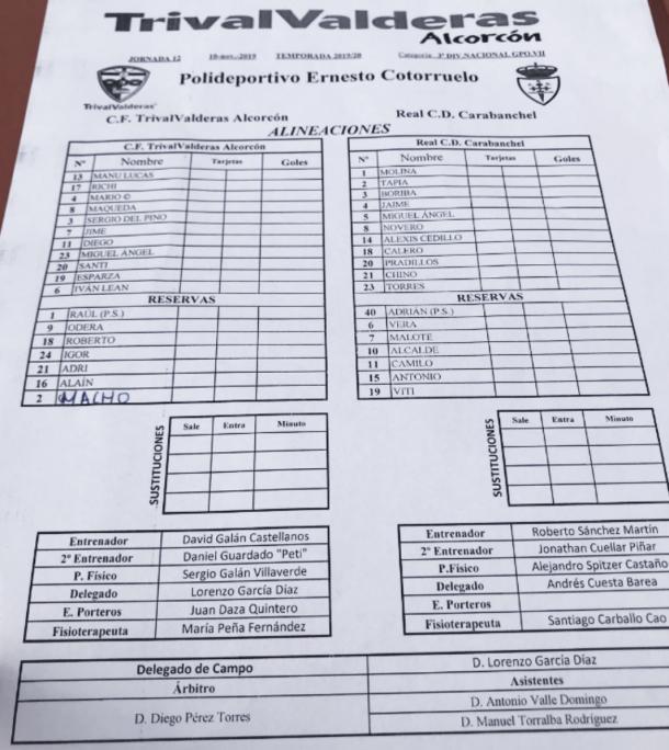 Ficha técnica del partido disputado esta mañana en el Ernesto Cotorruelo entre Trival Valderas y RCD Carabanchel, que acabó 0-0. Fotografía: Twitter de Miguel Ángel Montoya (@Montini3).