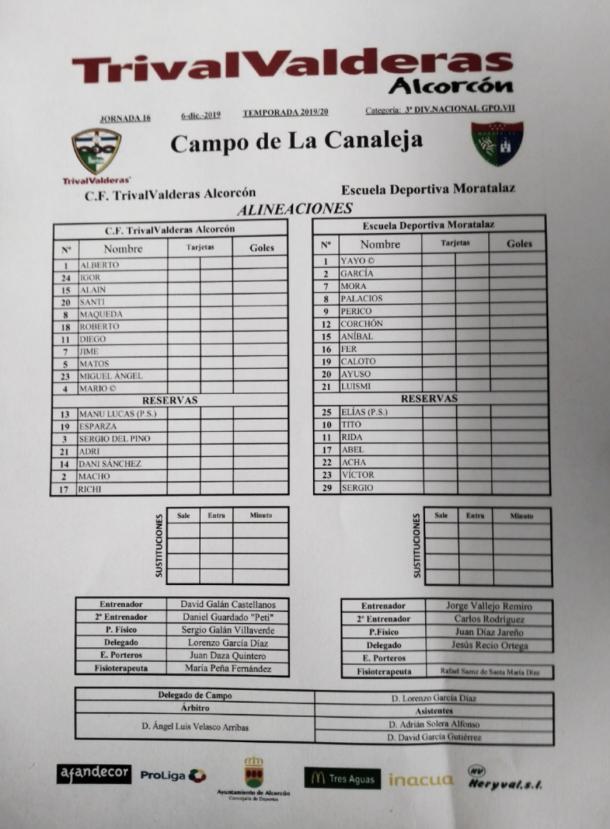 Ficha técnica del partido de liga del Grupo VII de Tercera División disputado en La Canaleja entre CF Trival Valderas y ED Moratalaz en la mañana del 6 de diciembre. Fuente: Francisco Nieto.