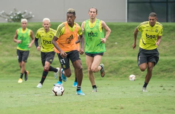 Bruno Henrique teve dores na coxa no jogo contra o Santos, mas treinou normalmente (Foto: Alexandre Vidal/Flamengo)