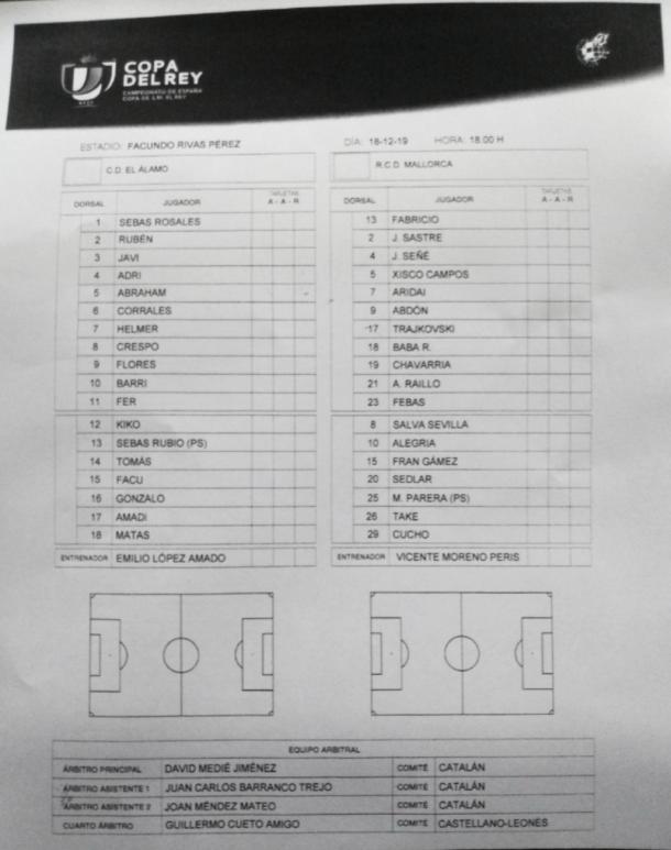 Ficha técnica del partido correspondiente a la primera eliminatoria de Copa del Rey entre CD El Álamo y RCD Mallorca en el Estadio Muncipal Facundo Rivas. Fuente: Francisco Nieto.