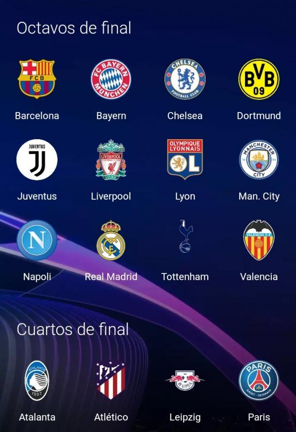 Estos son los equipos clasificados a los octavos de final, y los que alcanzaron a acceder a los cuartos de final. Imagen: UCL app.