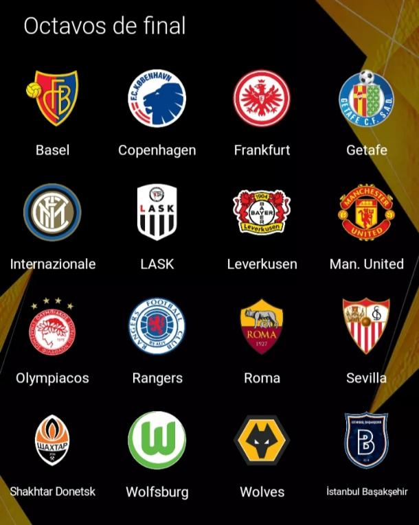Estos son los equipos que quedaron disputando los octavos de final de la UEFA Europa League. Imagen: UEL app.