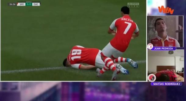 Celebración habitual en 'FIFA 20', esta vez, con Diego Valdés, jugador 'cardenal'. Imagen: captura de pantalla, Win Sports