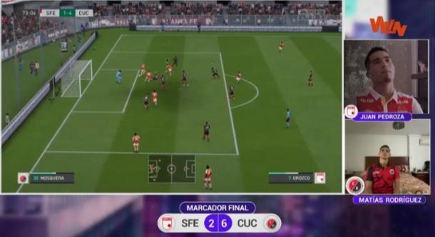 Momento del descuento y último gol de Santa Fe, para el 2-4. Imagen: captura de pantalla Win Sports.