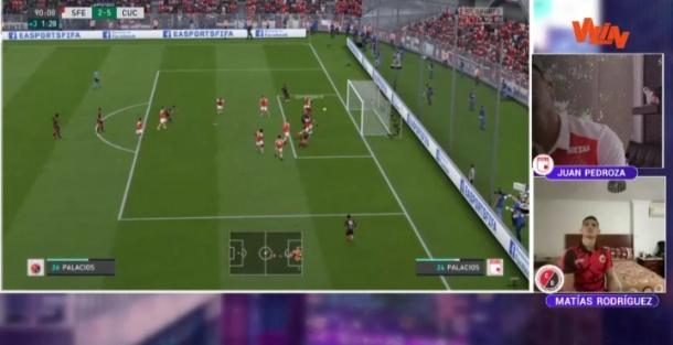 Cabezazo de Palacios para poner cifras finales al marcador. Imagen: captura de pantalla Win Sports.