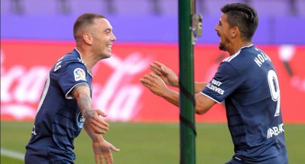 Iago Aspas celebrando un gol junto a Nolito / Fuente: rccelta.es