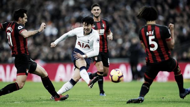 Son consiguió el quinto gol, el segundo en su cuenta personal. Foto: Premier League.
