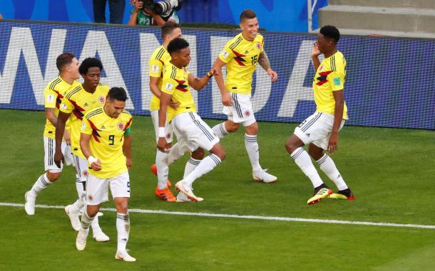 A Colombia le bastaron cinco goles en tres juegos para avanzar de ronda. Foto: Marca.