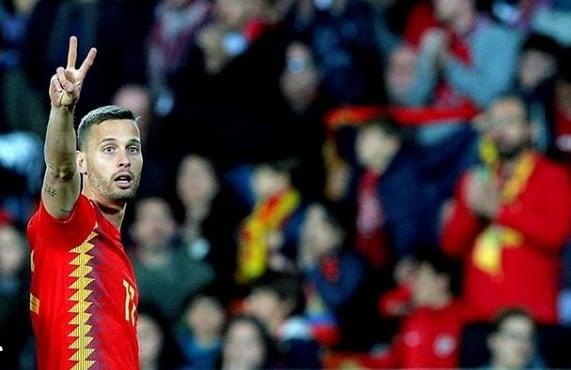 Canales en su debut con la Selección Española. Fuente: @sergiocanalesoficial