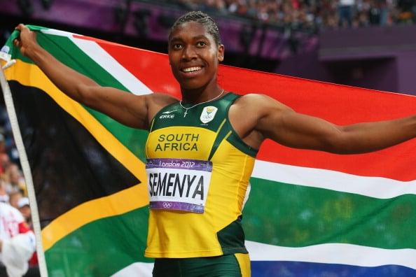 Caster Semenya celebrates after winning silver at the London Olympics (Getty/Alexander Hassenstein)