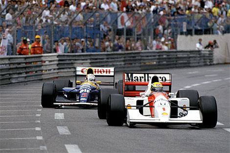 Senna tiene a bada Mansell a Monaco