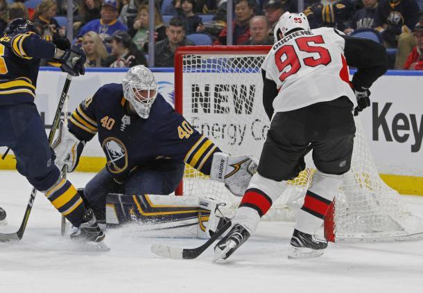 Newly acquired center Matt Duchene, gets stopped by Sabres' goalie Robin Lehner on December 12, 2017. (Photo: Boston Herald)