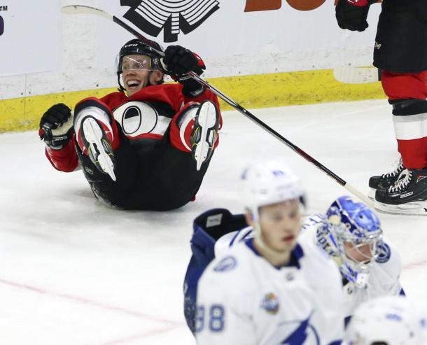 The Ottawa Senators doubled up on the NHL leading Tampa Bay Lightning 6-3 on January 6, 2017. (Photo: Boston Herald)