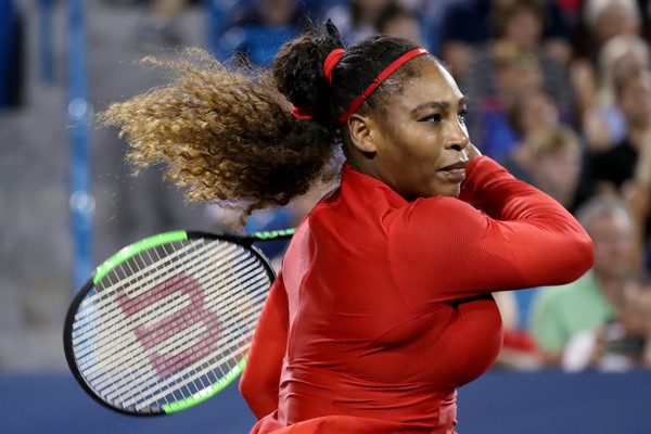 Serena Williams follows through on a forehand during her second round loss. Photo: Rob Carr/Getty Images