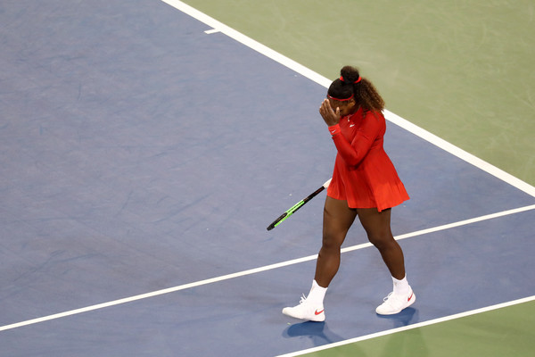 Williams reacts to her heartbreaking loss to Kvitova. Photo: Rob Carr/Getty Iages
