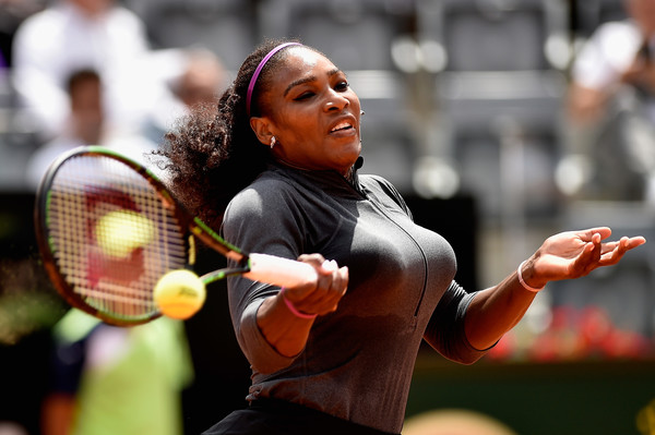 Serena Williams of the United States plays a forehand in her match against Christina McHale of the United States on Day Five of The Internazionali BNL d'Italia on May 12, 2016 in Rome, Italy (Dennis Grombkowski/Getty)