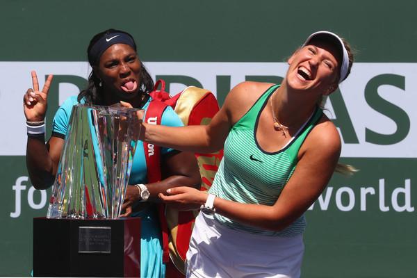 Serena photobombs Azarenka./Photo: Julian Finney/Getty Images