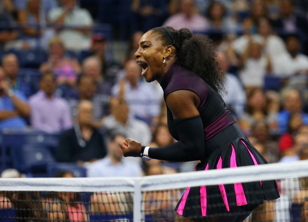 Serena Williams fist pumps after winning a point during her semifinal match against Karolina Pliskova at the 2016 U.S. Open.   Photo: Mike Stobe/Getty Images North America