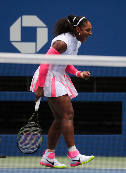 Serena Williams celebrates after winning a point during her third-round match against Johanna Larsson at the 2016 U.S. Open.   Photo: Chris Trotman/Getty Images North America