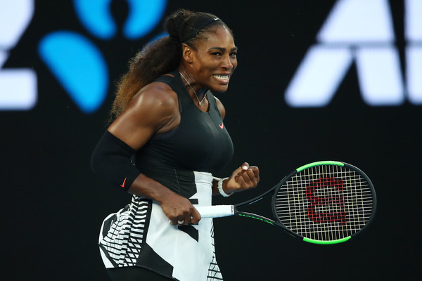 Serena Williams celebrates winning a point during the 2017 Australian Open final, which she prevailed in straight sets | Photo: Clive Brunskill/Getty Images AsiaPac