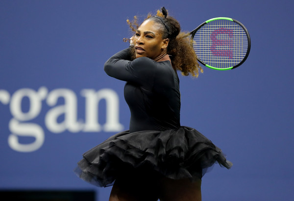 Serena Williams looks to mount the comeback in the second set | Photo: Elsa/Getty Images North America
