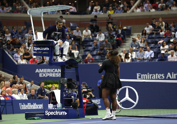 Williams argues with umpire due to a code violation | Photo: Matthew Stockman/Getty Images North America