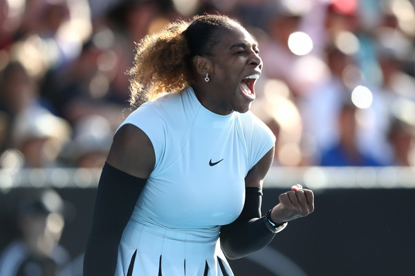 Serena Williams celebrates after winning a point during her second-round match against Madison Brengle at the 2017 ASB Classic. | Photo: Phil Walter/Getty Images