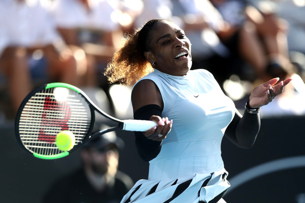 Serena Williams hits a forehand during her second-round match against Madison Brengle at the 2017 ASB Classic. | Photo: Phil Walter/Getty Images