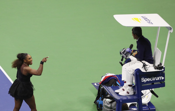Serena Williams confronts umpire Carlos Ramos after Ramos issued her a second code violation for racquet abuse, which resulted in an automatic point penalty. | Photo: Mike Stobe/Getty Images