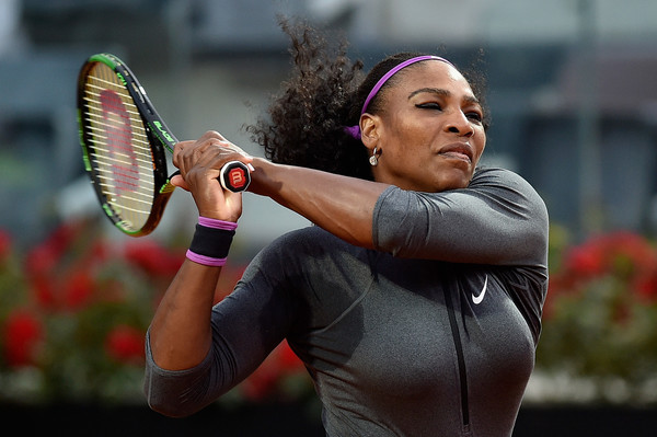 Serena Williams strikes a backhand during her win over Christina McHale. Photo: Dennis Grombkowski/Getty Images