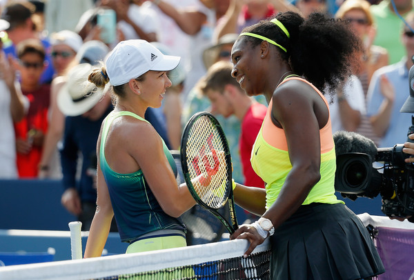 Serena Williams (R) shakes hands with Simona Halep of Romania after defeating her during the finals of the Western & Southern Open at the Linder Family Tennis Center on August 23, 2015 in Cincinnati, Ohio.