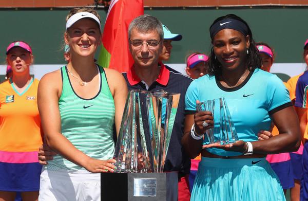 Azarenka and Serena in Indian Wells. Photo: Julian Finney/Getty Images