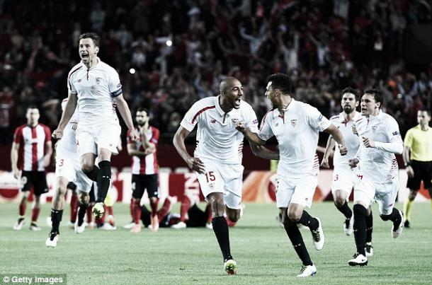 Above; Sevilla celebrate their penalty victory over Athletic Bilbao | Getty Images