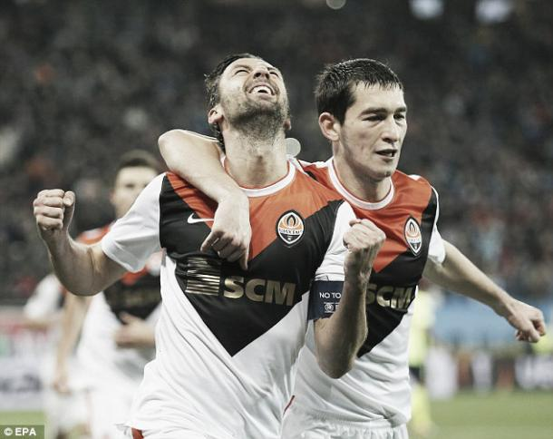Above: Darijo Srna scores the opening goal in Shaktar Dontesk's 4-0 over Braga | EPA