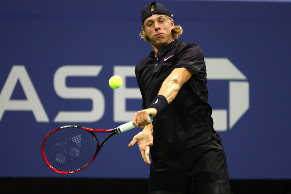Shapovalov strikes a backhand during his second round win. Photo: Al Bello/Getty Images