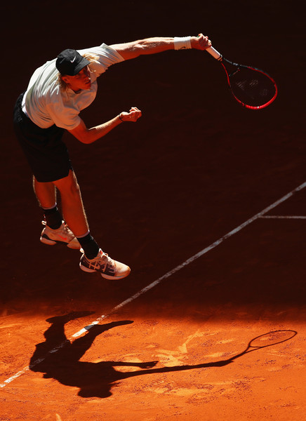 Denis Shapovalov leaps into his serve. His serve may not have been as big as Raonic's, but it was just as effective. Photo: Clive Brunskill/Getty Images