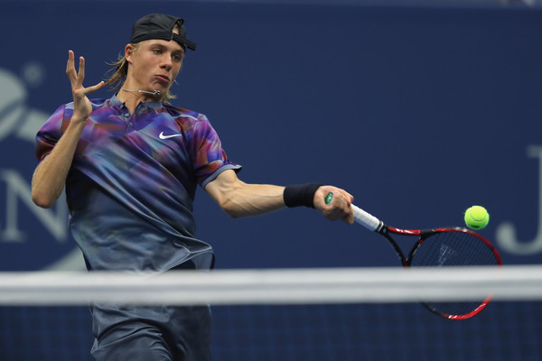 Denis Shapovalov hits a forehand during his fourth round loss. Photo: Richard Heathcote/Getty Images
