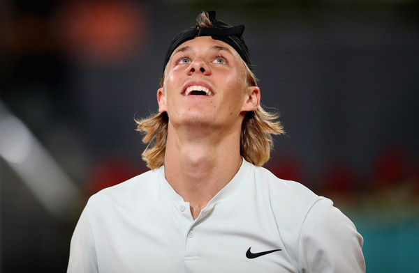 Denis Shapovalov looks on in exasperation as his Madrid run collapsed around him. Photo: Clive Brunskill/Getty Images