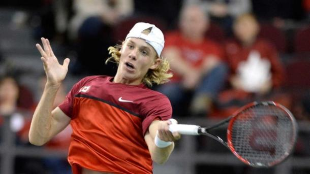 Shapovalov strikes a forehand during a previous Davis Cup tie. Photo: Justin Tran/The Canadian Press