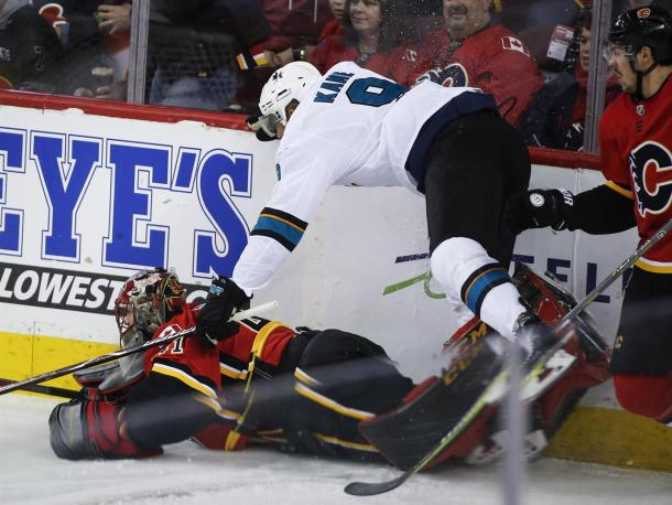 Evander Kane was all over the Flames and Mike Smith scoring four goals.  (Jeff McIntosh/The Canadian Press via AP)