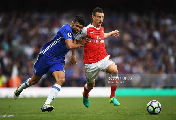Koscielny and Mustafi dealt brilliantly with Chelsea's biggest threat Diego Costa. Photo: Getty Images: Shaun Botterill