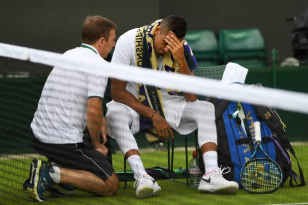 Nick Kyrgios was forced to retire at Wimbledon due to his hip injury (Getty/Shaun Botterill)