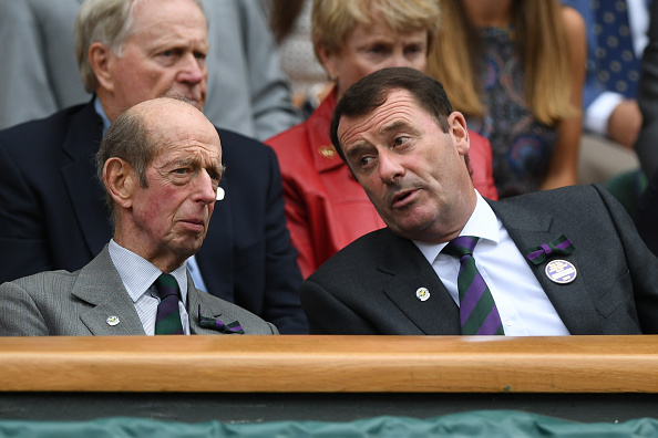 (L-R) The Duke of Kent sits with Philip Brook, chairman of the All England Club, on the seventh day of action at SW19 this year (Getty/Shaun Botterill)
