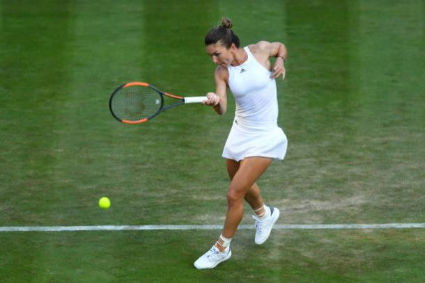 Simona Halep in action during her victory earlier today (Getty/Shaun Botterill)