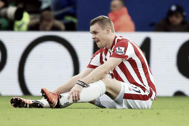 Shawcross looks downbeat as his back trouble flares up again. Photo: The Sun.