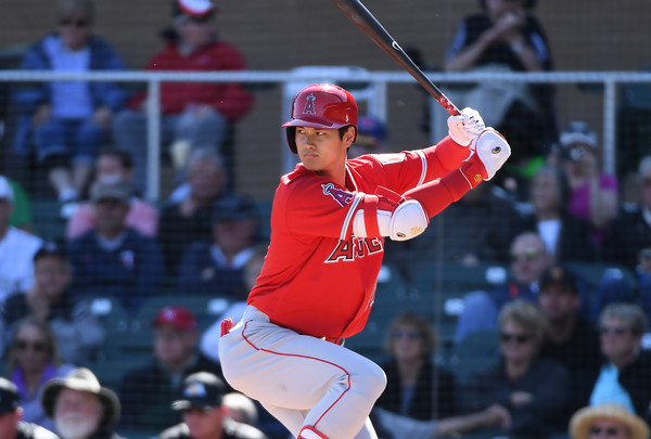 Shohei Ohtani #17 of the Los Angeles Angels of Anaheim. |Feb. 26, 2018 - Source: Norm Hall/Getty Images North America|