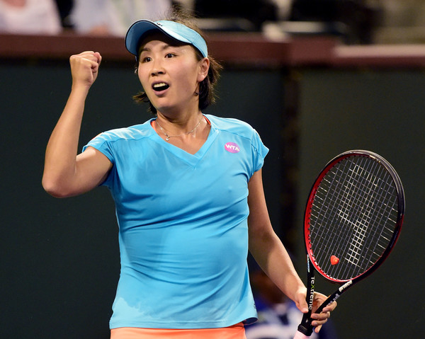 Peng Shuai celebrates her win over Radwanska in Indian Wells | Photo: Harry How/Getty Images North America
