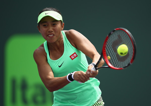 Zhang Shuai hits a backhand at the Miami Open | Photo: Julian Finney/Getty Images North America