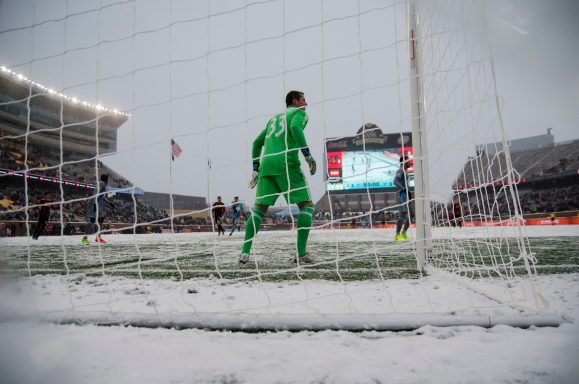 Shuttleworth stands in the net against Atlanta. (Daniel Mick/FiveFiftyOne)