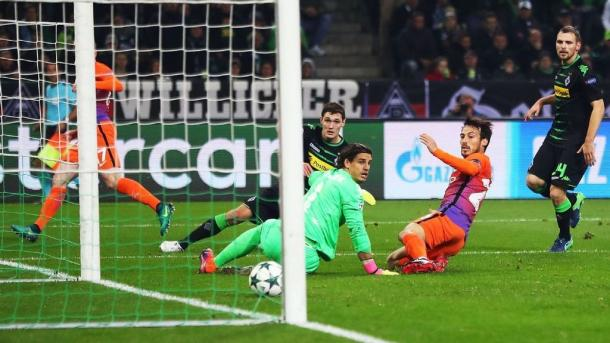 Silva anotando el empate (Foto Getty Images)